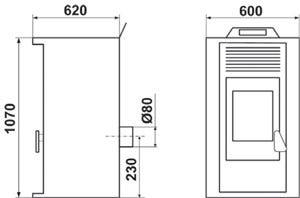 Poêle à granulée de bois Penlan 11 kW Bordeaux - DEVILLE - C077GB.03-DA