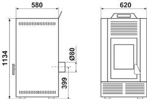 Poêle à granulée de bois Stiff 16 kW Ivoire - DEVILLE - C077GD.02-DA